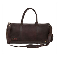 Columbus Deep Leather Holdall Duffle In Vintage Mahogany