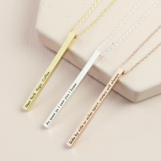 Personalised Shiny Vertical Bar Necklace