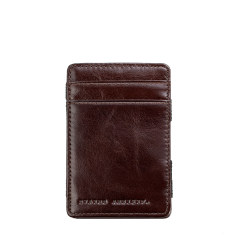 Flip Leather Wallet In Chocolate