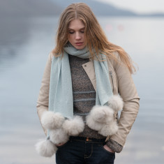 891708136dc22 Duck Egg Blue · Frosted Alpaca wrap with fur pom poms