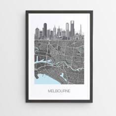 Framed prints prints online wall prints hardtofind melbourne illustrated map print solutioingenieria Gallery