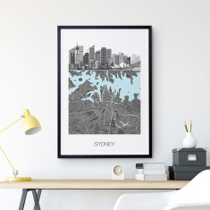 Places maps travel framed prints ready to hang prints sydney illustrated map print gumiabroncs Image collections