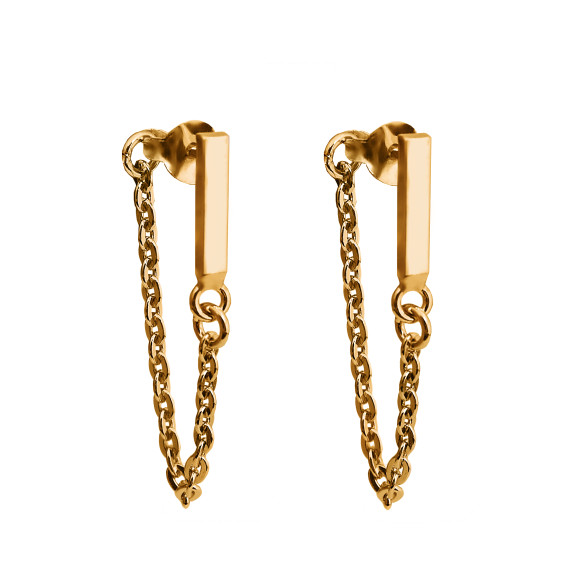 bar chain earrings gold