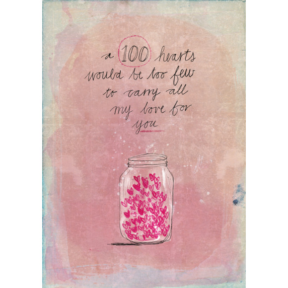 100 hearts illustration by Paula Mills