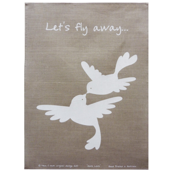 Dove Love Tea Towel in White on Natural