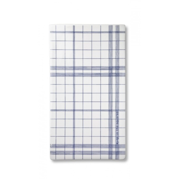 Ruth M large Squares tile plate in blue