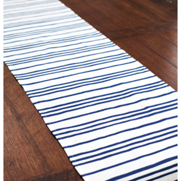 French Stripes in Cottage Blue on Natural