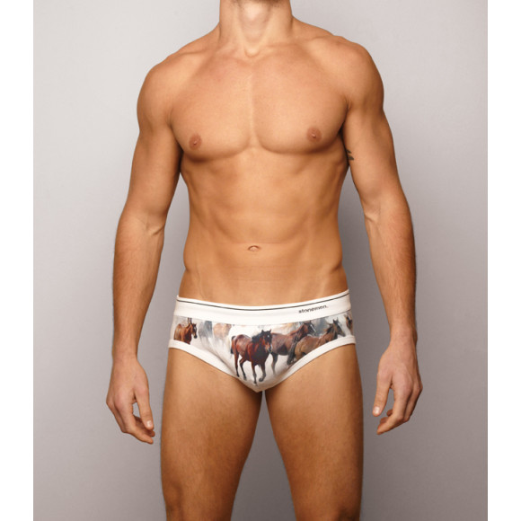 men's brief - horse white