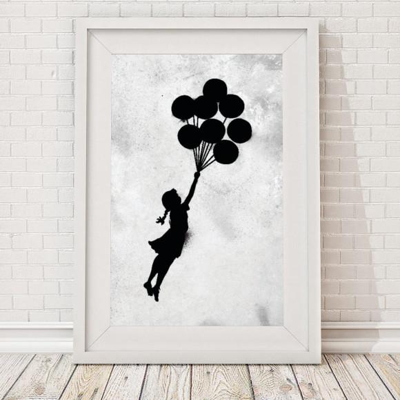 grunge banksy floating balloon girl print hardtofind. Black Bedroom Furniture Sets. Home Design Ideas