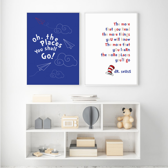 Dr Seuss Adventures Print, shown with Dr Seuss The More That You Read Print