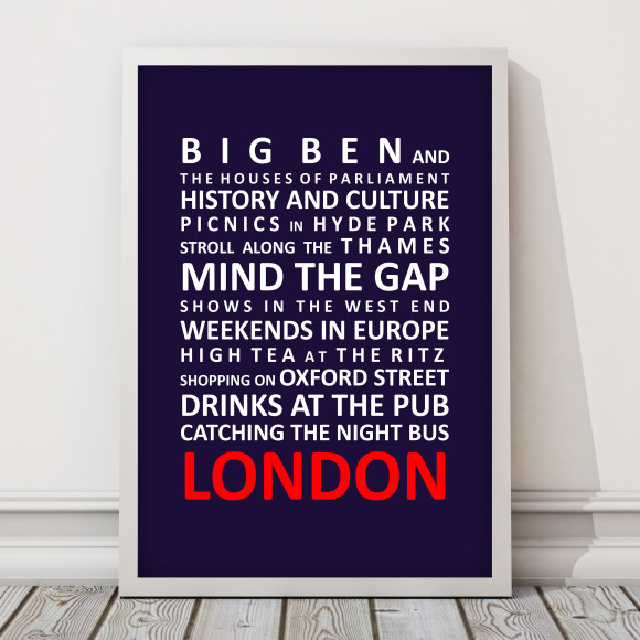 Life in London Print with optional Australian-made white timber frame