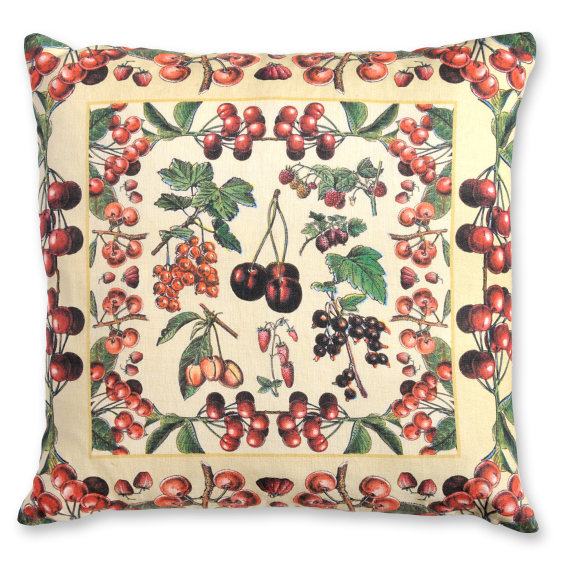 Millot Cherries with Border linen cushion cover