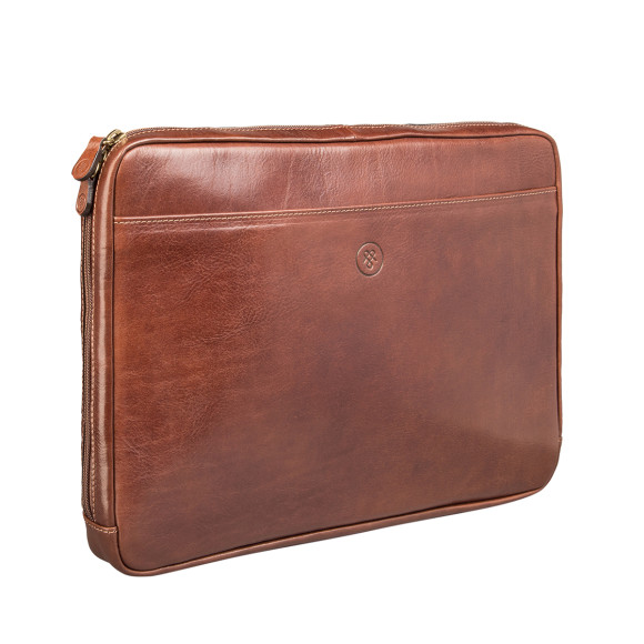Leather laptop sleeve in chestnut tan