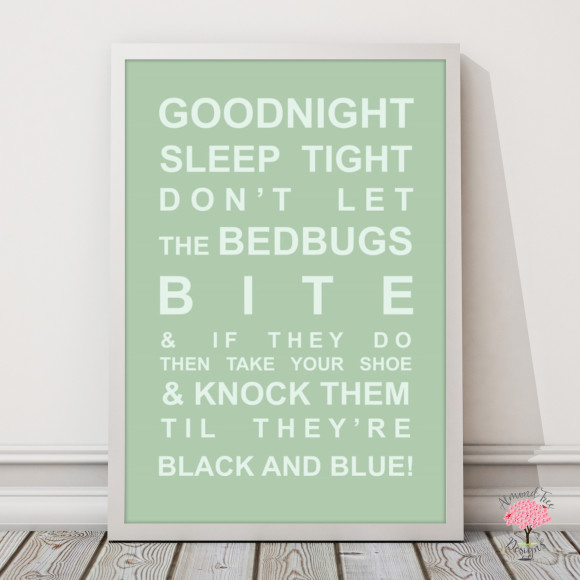 Goodnight Sleep Tight Print in Pistachio, with optional Australian-made white timber frame
