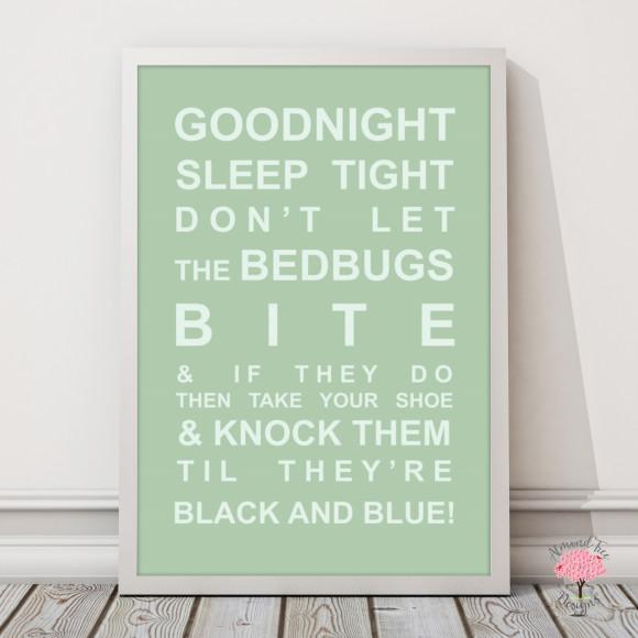 Goodnight Sleep Tight Print in Pistachio, with optional Australian-made white timber frame