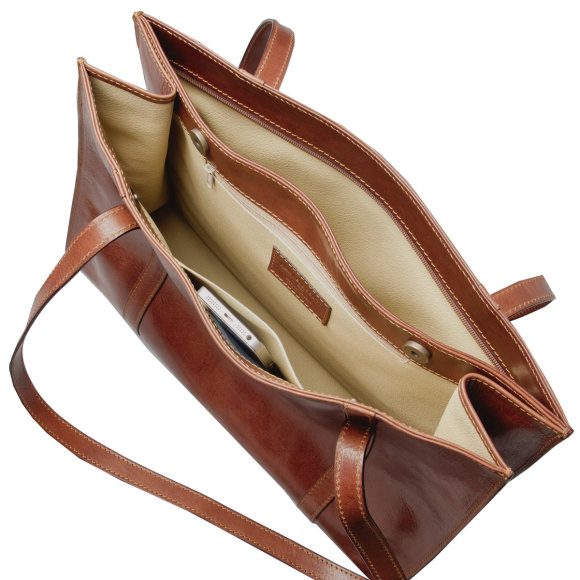 Rivara ladies business bag in chestnut brown