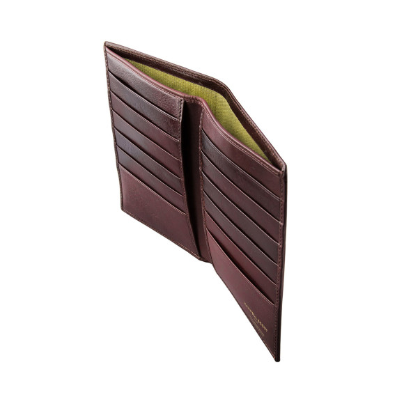 Leather mens breast wallet in chocolate brown