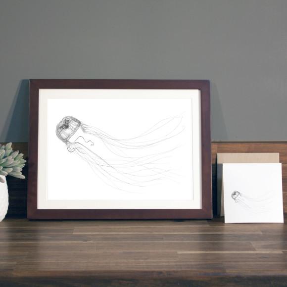 Jellyfish print A4 mocha frame