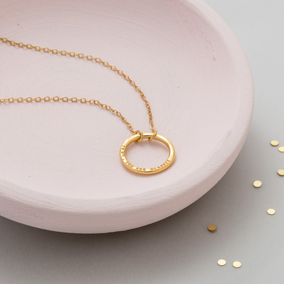 Personalised Full Circle Necklace in 18ct yellow gold plate