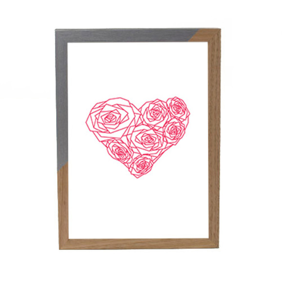 Pink heart of roses - Silver ZAP