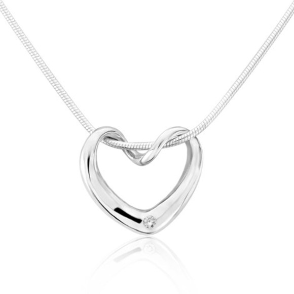 Silver Twisted Heart Pendant with Diamond Inset