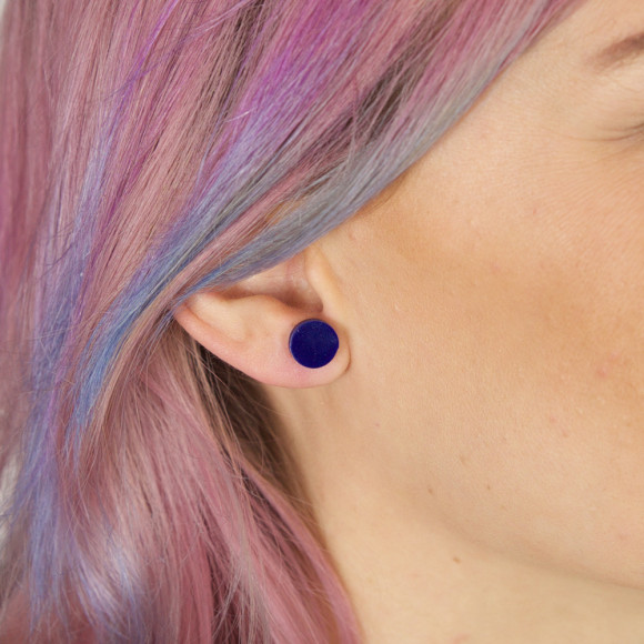 GEO - Circle Earring Studs in navy blue