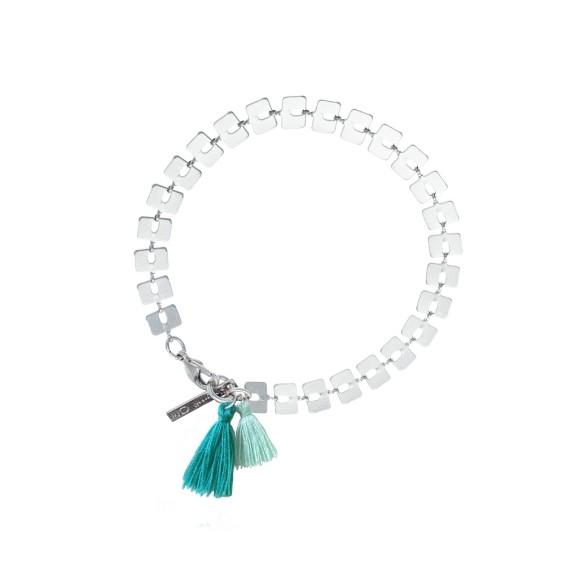 Bamboo Aqua Tassel Bracelet Silver