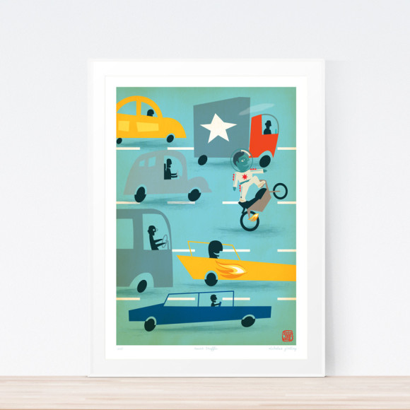 Racer Traffic Art Print (Framed)