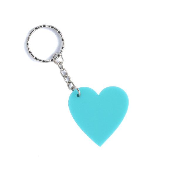 Small aqua blue keyring