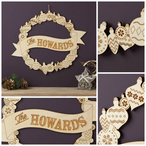 Personalised Christmas Wreath details