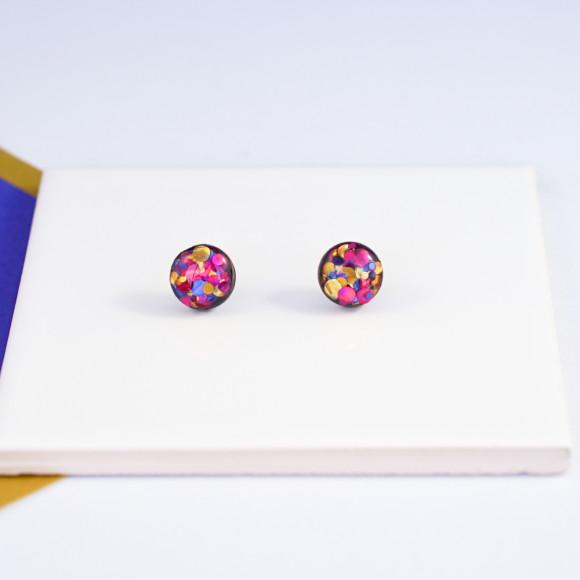 Circle glitter earrings - multi coloured