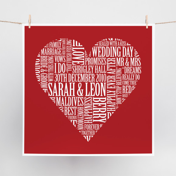 Love Heart Word Art Print