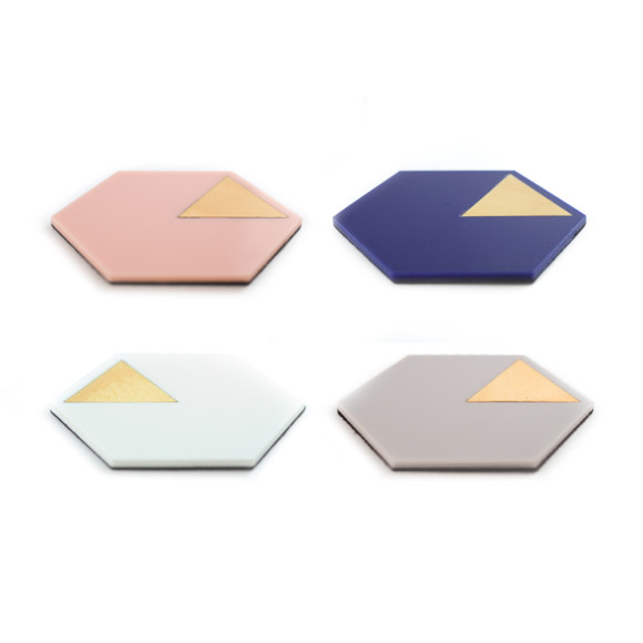 GEO coasters in navy, grey, blush pink & white