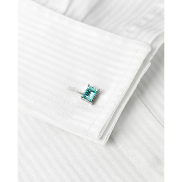 Light Azore Swarovski Crystal Cufflinks on shirt