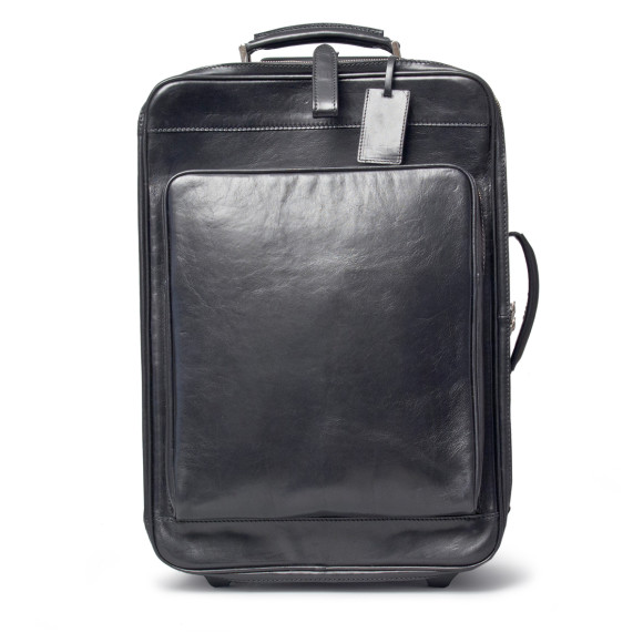 Black leather wheeled suitcase
