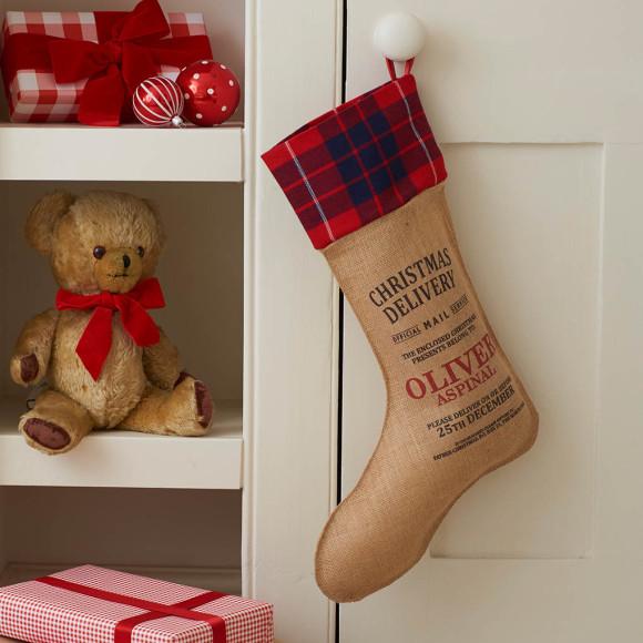 Christmas stocking with tartan trim