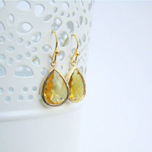 Faceted Glass Teardrop Earrings Topaz