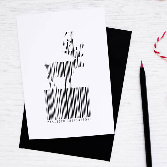 Christmas Barcode Reindeer Card Packs