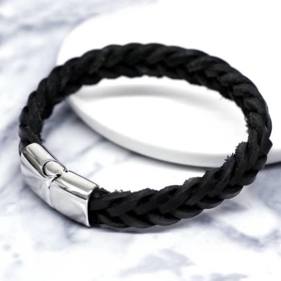 Braided black engraved men's bracelet