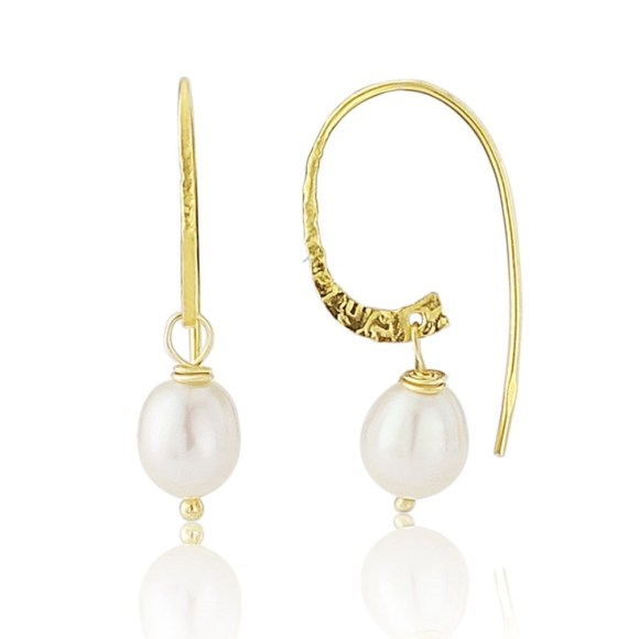 Pearl Earrings on Gold Vermeil Hoops