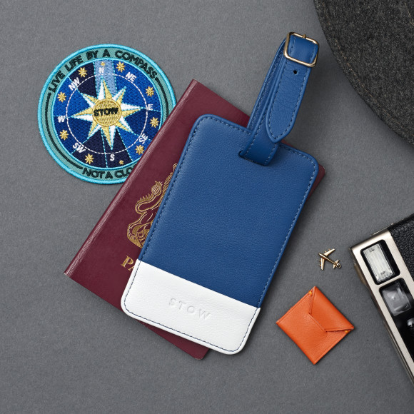 Blue & White Leather Luggage Tag