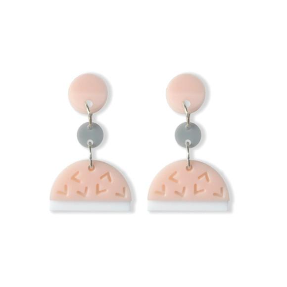 Confetti drop earrings in blush, white, grey