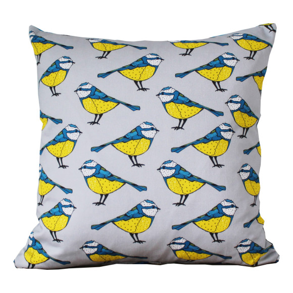 Bold Blue Tit Cushion Cover