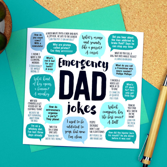 Funny Birthday Card For Dads Bad Dad Jokes Funny Card For: Emergency Dad Jokes Card