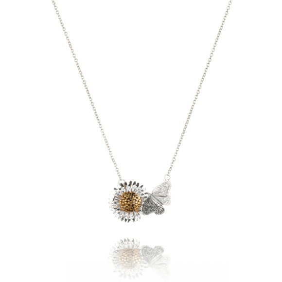 Amanda Coleman daisy and butterfly necklace