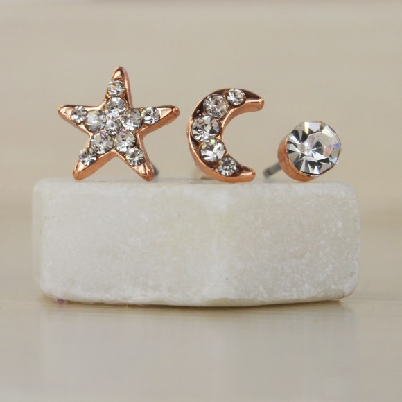 Sun, Moon and Star Rose Gold Stud Earrings