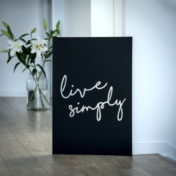 Live Simply shown in hallway.