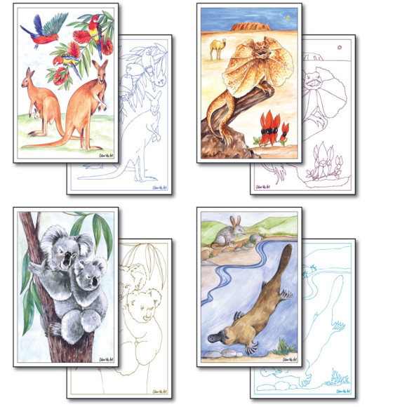 Australian Wildlife Cards to Colour