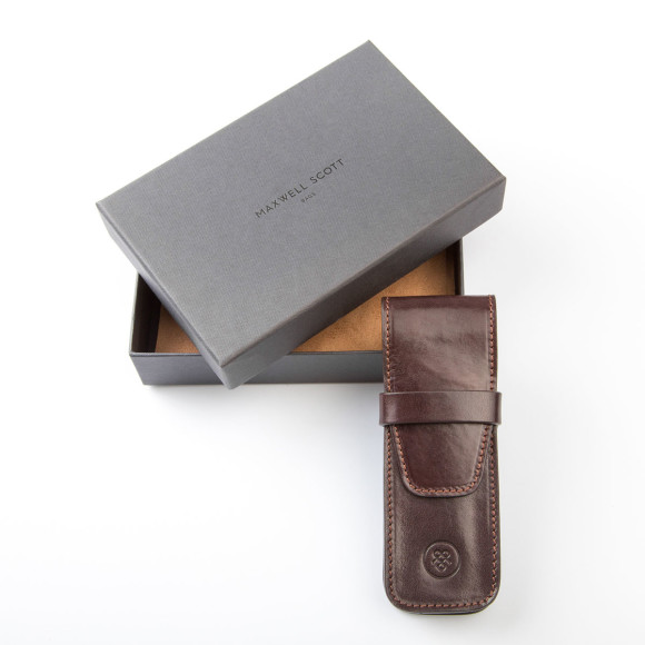 The Pienza pen case in dark chocolate brown.