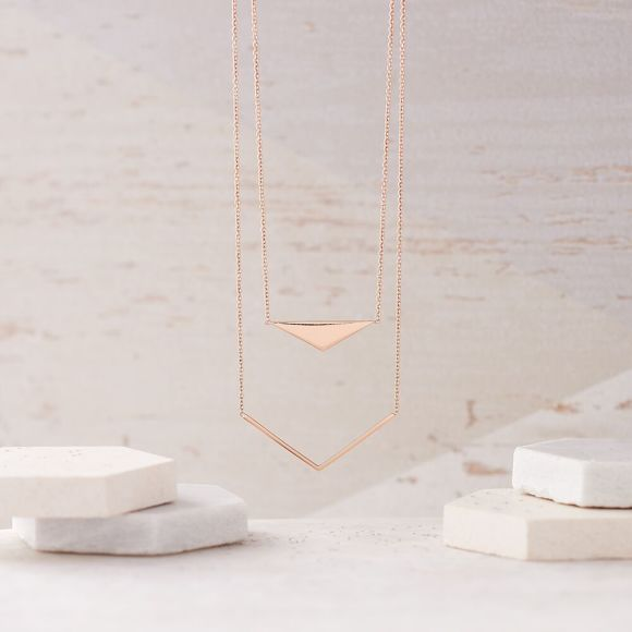 Geometric Double Layer Necklace in Rose Gold